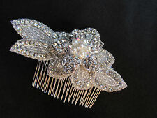 Vintage Bridal beaded  crystal luxury headpiece wedding hair comb