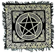 Gold on Black Pentagram Altar Cloth 18x18!  pagan wicca witch