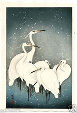 OHARA KOSON Shoson JAPANESE Hand Printed Woodblock Print - Herons in Snow