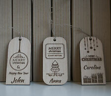 christmas wood ornament, christmas gift tags, set of 3, personalized wood tags