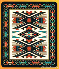 "Ultra Soft Plush Queen Blanket Bold Geometric Southwestern Design 79x95"" New SQ4"