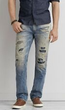 Men's Size 30x34 American Eagle Outfitters Jeans Slim Straight Destroyed Light