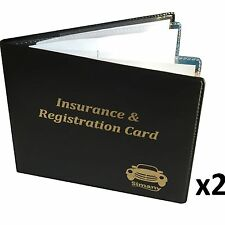 "2 Black 4-Pocket AUTO CAR INSURANCE REGISTRATION HOLDER WALLET 5.25""x4.6"" Vinyl"