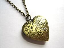 Vintage Look Bronze Floral Heart Working Locket Necklace New in Box Wife Gift