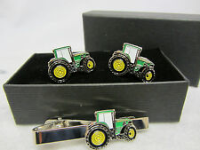 John Deere Green Tractor Cufflinks&Tie Clip Set FATHERS DAY GIFT Boxed Farming