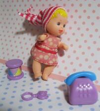 Barbie Baby KRISSY Blond DOLL MINI TOYS-Telephone Drum Winter Holiday Clothes