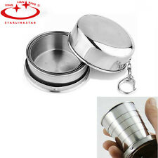 Set Of 2 PcsPortable Folding Stainless Steel Travel Camping Water Mug Cup Glass