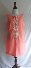 Vintage 60's Crazy Daisy Retro Mod Zip Front Smock Shift Cloth House Dress