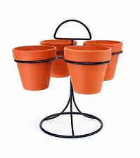 "Carousel Pot Set, Iron Stand with Four 4"" Clay Pots-12""H X 10""W."