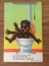 Black Americana AA Nigger Baby in Toilet CURT TEICH GREAT LINEN Vintage Postcard