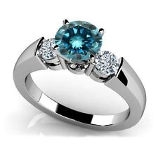 1.50 tcw Past Present Future 3 Stone Blue and White Diamond Ring (Best On Ebay)