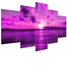 Purple Large Seaside Sunset Unframed HD Print On Canvas Wall Art Picture Poster