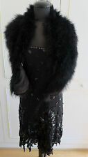 Tom Bowker coterie 20's Gatsby Downton Sequin Dress with feather Shawl Wrap UK12