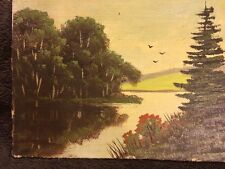 Vintage Original Oil Painting Landscape Antique Art Old Canvas Board