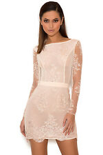 HOUSE OF CB 'Sathea' Light Pink Lace and Sequin Backless Dress FAULTY MM 5636