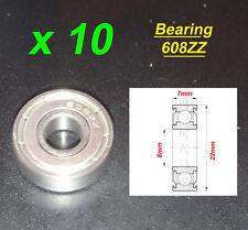10 x Deep Groove Ball Bearing 608ZZ Roulement à Billes 8 x 22 x 7mm 608ZZ