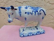 ROYAL DELFT LARGE PORCELEYNE DE FLES BLUE & WHITE COW FIGURINE $510