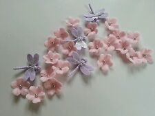 Edible Light Pink Veined Flowers & Silver Balls & Dragonflies Cake Decoration