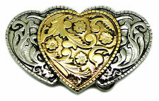 3 Hearts Belt Buckle Womens Floral Western Style Official White Wolf 24ct Gold
