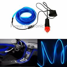 Blue 3M EL-Wire 12V Car Interior Decor Fluorescent Neon Strip Cold light Tape
