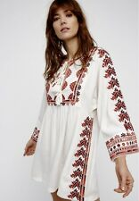 NWT Free People ivory Embroidered Babydoll Tassel Drapy Swing Tunic Dress L