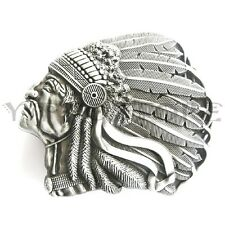 American Indian Chief Head Western Indian  Metal Fashion Belt Buckle