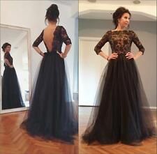 Fashion Lace 3/4 Sleeve Nude/Black Formal Evening Gown Guest Party Prom Dresses