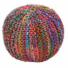 multi coloured knitted pouffe
