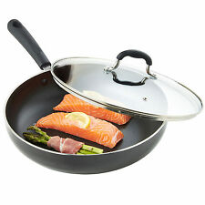 VonShef 28cm Non-Stick Cast Aluminium Induction Frying Sauté Pan & Glass Lid