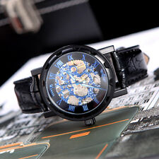 Winner Skeleton Dial Hand Winding Mechanical Watch Leather Black & Royal Blue