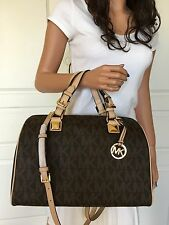 NWT MICHAEL KORS LARGE BROWN MK SIGNATURE PVC SATCHEL LEATHER TOTE BAG PURSE