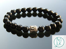 Buddha Black Onyx Natural Gemstone Bracelet 7-8'' Elasticated Healing Stone
