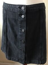 Lovely Black Denim Button Front Skirt Size Uk 14 By Moto For TopShop
