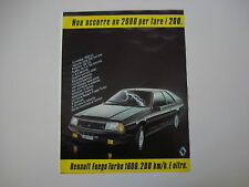advertising Pubblicità 1983 RENAULT FUEGO TURBO 1600