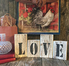 Primitive LOVE HOME Sign Inspirational Rustic Wedding Beach Country Wood Blocks