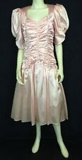 Jessica McClintock GG's Vintage Women's Pink Shiny Satin Formal Dress Gunne SaX