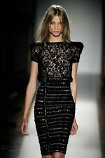 BALMAIN BLACK LACE TOP FR 36 UK 8
