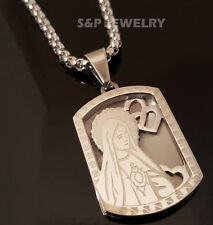 "Stainless Steel Virgin Mary Dog Tag Pendant & 24"" Round Box Chain Necklace 149S"