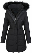 Damen winter jacke steppmantel parka langer mantel fell kragen kapuze D-209 S-XL