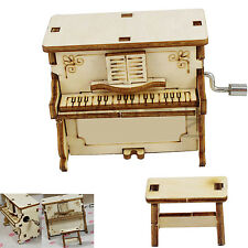 Hand Operated DIY Wooden Music Box with Piano Design Kids Boys Girls Gift Toy