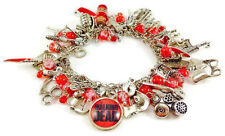Walking Dead Inspired Charm Bracelet with 40+ Charms & Blood Spattered Gift Box