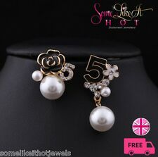 Statement Earrings Large Faux Pearl Designer No.5 New UK