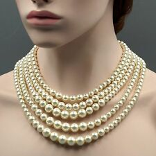 White Glass Pearl Multi Layered Strand Bead Chunky Necklace 07142 String