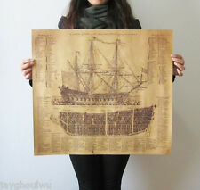 "22.4"" Galleon Sailing Blueprint Aged Classic Poster Old Retro Vintage Collection"