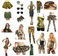 Womens Girls Teens Camouflage Fancy Dress Tutu Skirts Vest Army Hat Leggings