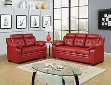 Red Apartment Sized Casual Contemporary Bonded Leather Living Room Sofa Love Set