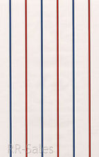 White Blue Red Thin Lines Stripes Striped Sports Mens Boys Double Roll Wallpaper