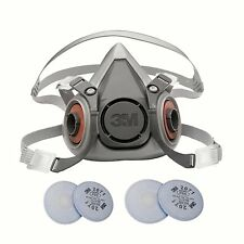 3M 6000 Series Respirator Medium 6200 Half Mask Facepiece w/2 Pairs 2071 Filters