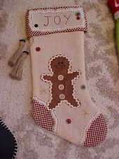 """EXCELLENT JOY~GINGERBREAD MAN CHRISTMAS STOCKING 18""""~SEWN~STITCH~EXTREMELY NICE~"""