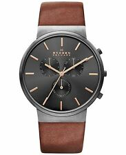 Skagen Men's Ancher Chronograph Leather Band Watch SKW6106